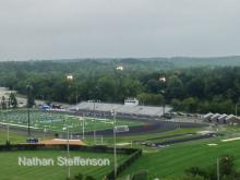 Brainerd Football practicing before game, lights on 11:06am Saturday Aug 22 2015